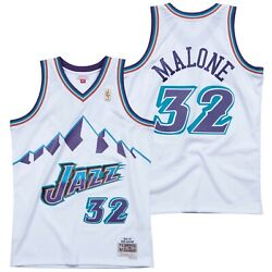 Preschool Utah Mens Karl Malone Mitchell And Ness White Hardwood Classics Jersey