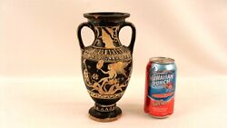 Ancient Greek 4th C Bc 2 Handle Pottery Vase W/ Winged Figures