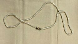 Unique 24 Freshwater Button Pearl Necklace Stand W/ 14k Gold And Diamond Clasp