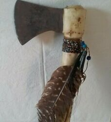 Antique Sioux Native American Indian Tomahawk W/feathers Glass Beads And Rawhide