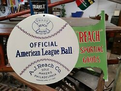 A J Reach Co. Baseball Double Sided Porcelain Flanged Advertising Sign Sports