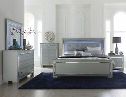 Curbside Shipping To Indiana - New Silver Led Queen Or King 5pc Bedroom Set