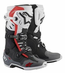 Alpinestars Tech 10 Supervented Black White Mid Gray Red Motorcycle Boots - ...