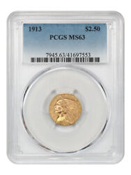 1913 2 1/2 Pcgs Ms63 - 2.50 Indian Gold Coin