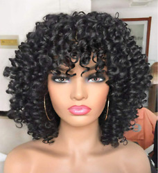 Curly Afro Wig with Bangs Short Kinky Curly Wigs for Black Women black Hair New $29.99