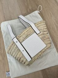 Loewe Basket Bag Raffia Small Tote Women#x27;s White Used Once For Photos $449.00