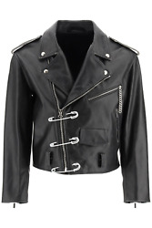 New Raf Simons Biker Jacket With Safety Pin 202 650 40020 Black Authentic Nwt