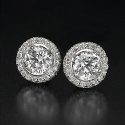 Real 14kt White Gold Round Cut Diamond Stud Earrings 3.20 Ct H/si2