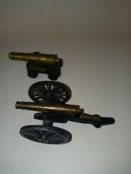 Vtg 1/0 Mfco Cast Iron/brass U.s.s.constitutionandmystic Seaport Toy Cannon Lot 2