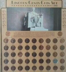 Lincoln Wheat Cent Collection Framed Coin Collector 1909-1980 Framed 74 Coin Set
