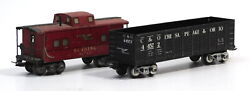 Used Lot Marx Mar Lines Reading Rr Caboose Red Tin Train Car 92812 And Cando 4...