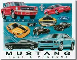 Ford Mustang Chronology Past And Present Gt Mach I Tin Metal Sign 12.5 X 16 Inches