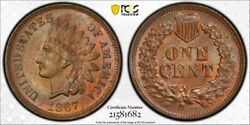 1867 1c Indian Head Cent Pcgs Ms 64 Rb Uncirculated Red Brown Toned Beautiful...