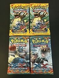 Lot Of 4 Pokemon Tcg Booster Packs New Sealed Xy Flashfire And Furious Fists Rare