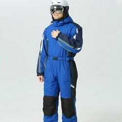 New Adult One-piece Ski Suit Solid Color Thermal Hooded Sports Skiing Pant Set