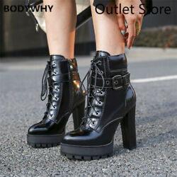 Women Leather Platform High Heel Shoes Pointed Toe Block Zip Lace Up Ankle Boot