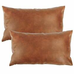 Faux Leather Throw Pillow Covers Set of 2 Brown Modern Couch 20 X 12 Inches