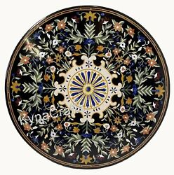 42 Inches Marble Sofa Table Top With Mosaic Art Round Black Dining Table Top