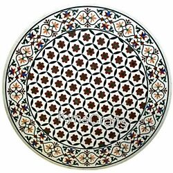 50 Inches Marble Round Center Table Top Inlay Work Dining With Decent Look