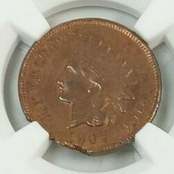1907 1c Mint Error Ms63rb Ragged Clip @ 700 Ngc 001 K921