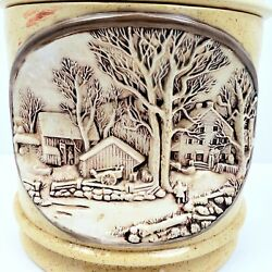 Hershey Molds 1979 3d Indented Winter Rural Scene Farmhouse Cookie Jar Canister