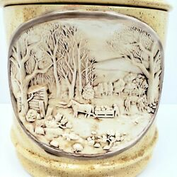 Hershey Molds 1979 3d Indented Rural Farm Autumn Harvest Cookie Jar Canister Euc