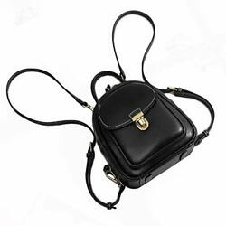 Mini Leather Backpack Purse for Women Cowhide Women#x27;s Backpack Small Black $95.73