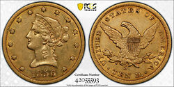 Avc- 1856-s 10 Gold Liberty Eagle Pcgs Vf35 Cac - 68000 Minted