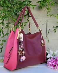 NEW Coach Dalton 31 COLORBLOCK Leather Shoulder Bag hobo purse1016 bag wine pink $189.00