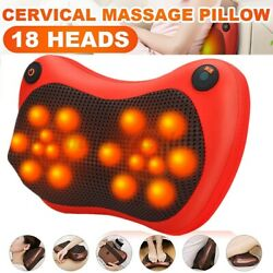 18 Heads Electric Neck Back Massage Pillow Massager With Heat Kneading Cushion