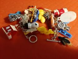 Christmas Themed 7 Bracelet With 30 Rare/mechanical Vtg. Gumball Charms Reduced