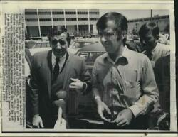 1969 Press Photo Thomas Michael Harrigan And Attorney At Police Department.