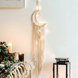 Moon Dream Catcher for Bedroom Wall Hanging Dream Catcher with String Light
