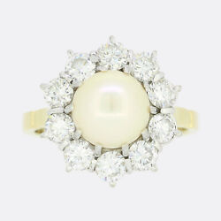 Vintage Pearl And Diamond Cluster Ring 18ct Yellow Gold