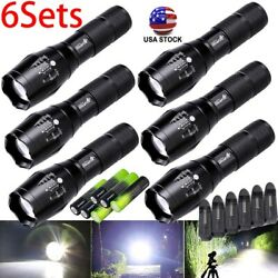 3/6pc Tactical Flashlight Ultrafire 5 Modes High Powered Zoom Aluminum And Battery