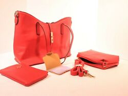 Woman fashion Red 3 piece crossbody satchel top handle tote clutch purse D2 $20.00
