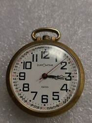 Vintage Swiss Customtime Railroad One Jewel Pocket Watch Collector's Estate