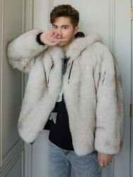 Man Winter New Real Fox Fur Jacket Grass Coat Male Hooded Leather Ecological Fur