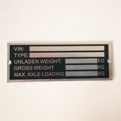 Pre-engraved Trailer Vin And Weight Chassis Plate 120mm X 45mm Identification No
