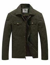 Menand039s Casual Canvas Cotton Military Lapel Jacket Medium Army Green
