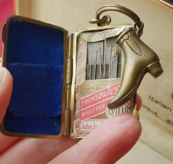 Unusual Small Antique Brass Needle Case Fob And Shoe Charm