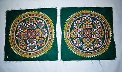 Indian Handmade Green Floral Round Patches Rabari Embroidered Vintage Home Decor