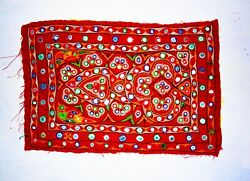 Indian Handmade Red Mirror Sequence Work Embroidery Patches Ethnic Jacket Patch