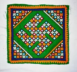Indian Embroidered Swastik Fabric Patches Wall Hanging Decorative Home Decor Art