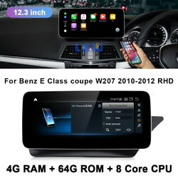 12.3 Car Gps Stereo Player Touch Screen Bt For Benz E Class Coupe 2010-2012 Rhd