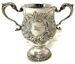 Stunning Antique Irish Solid Silver Two Handled Loving Cup Floral Embossed