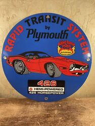 1970 Vintage And039and039plymouthand039and039 12 Inch Porcelain Gas And Oil Dealer Sign 426 Hemi