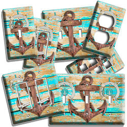Nautical Steering Anchor Rustic Beach Wood Light Switch Outlet Plate House Decor