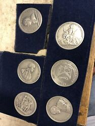 Comitia Americana Pewter Coin Lot Of 6 Vintage Very Good Shape - See Pictures