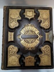 1800s Antique Holy Bible Leather Bound Gold Embossed Illustrated